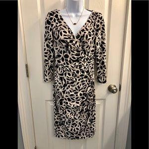 Ralph Lauren Ruched Floral Dress Black Ivory 4